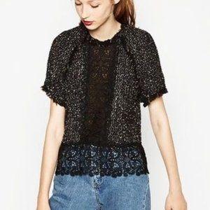 Zara Tweed and Lace Black Short Sleeve Boxy Top